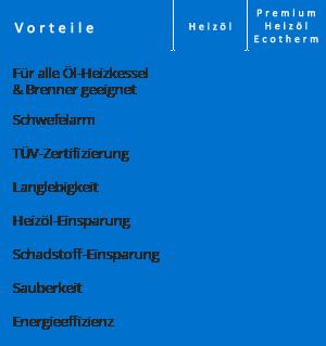 Tabelle Heizöl-Qualitätsvergleich